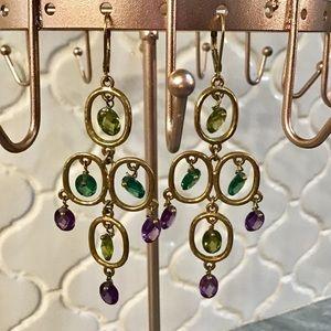 Anthropologie Chandelier Stone Earrings